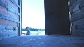O motorista abre a porta do reboque no caminhão estacionado no dia ensolarado do verão Caminhão estacionado no campo Vista do int vídeos de arquivo