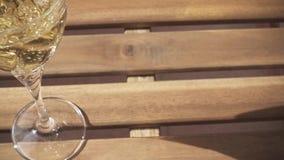 O movimento lento brilha em um vidro do vinho branco vídeos de arquivo