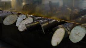 O movimento lento dos vendedores ambulantes vende o cana-de-açúcar no mercado da noite de Taiwan vídeos de arquivo