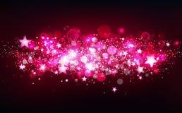 O movimento mágico cor-de-rosa das estrelas de tiro, fantasia, estrelas dispersa confetes, poeira, partículas de incandescência b ilustração do vetor