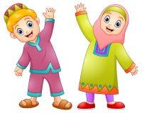O muçulmano feliz caçoa desenhos animados para comemora o eid Mubarak Foto de Stock Royalty Free