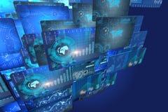 O muitos selecionam monitores com cartas e gráficos Fotografia de Stock Royalty Free