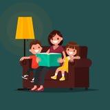 O Mum lê o livro às crianças Ilustração do vetor Imagens de Stock
