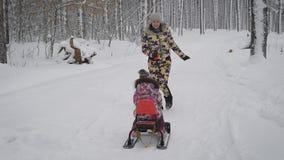 O mum novo rola em um trenó uma menina, eles joga em um parque do inverno, onde cresça muitas árvores altas Ambas as meninas são vídeos de arquivo