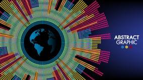 O mundo abstrato da tecnologia e da ciência, projeto gráfico da terra colorida pode ser usado para o infographics do negócio ilustração stock
