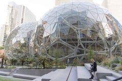 O mundo das Amazonas sedia esferas com empregado Fotos de Stock Royalty Free