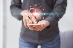 O mundo de uma comunicação sem fio no futuro e competição com o tempo Tecnologia da tecnologia que nunca parou esta pele da image fotos de stock