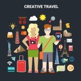 O mundo do smartphone do ícone do turismo das férias do curso coloca o vetor Foto de Stock Royalty Free