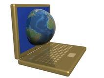 O mundo em um computador. Fotos de Stock