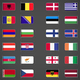 O mundo embandeira a coleção, Europa, parte 1 Foto de Stock