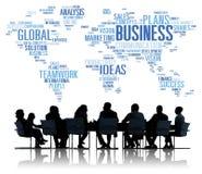 O mundo global do negócio planeia o conceito da empresa da organização Imagens de Stock