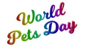 O mundo Pets a ilustração rendida 3D caligráfica do texto do dia colorida com inclinação do arco-íris do RGB ilustração do vetor