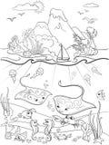 O mundo subaquático com coloração dos peixes, das plantas, da ilha e do caravel para desenhos animados das crianças vector a ilus ilustração do vetor