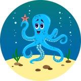 O mundo subaquático do polvo e dos peixes ilustração stock