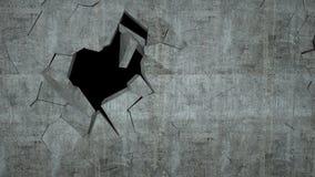 O muro de cimento com destruição, 3 d rende Imagens de Stock Royalty Free