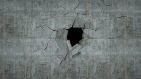 O muro de cimento com destruição, 3 d rende Fotos de Stock Royalty Free