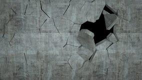O muro de cimento com destruição, 3 d rende Foto de Stock Royalty Free