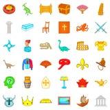 O museu de ícones das antiguidade ajustou-se, estilo dos desenhos animados Imagens de Stock Royalty Free