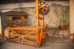 O museu de sal de Zigong mostra o modelo de processo do campo antigo da tecnologia de sal Imagem de Stock