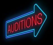 O néon auditions sinal. Imagens de Stock