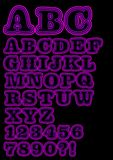 O néon caixa do alfabeto ajustou-se em roxo, incluindo números Imagens de Stock