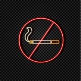 O néon do vetor faz o sinal de fumo, ilustração colorida, cigarro cruzado ilustração royalty free