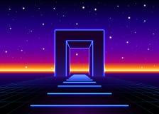 O néon 80s denominou a porta maciça na paisagem retro do jogo com a estrada brilhante ao futuro ilustração do vetor