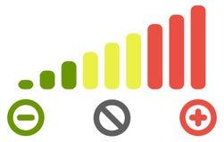 O nível do volume barra o ícone da escala Verde às cores vermelhas, com o menos para a diminuição, positivo para o aumento e o cí imagem de stock royalty free
