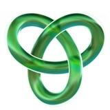 O nó de laço verde isolado 3D do trefoil rende no fundo branco fotos de stock