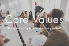 O núcleo avalia o conceito da finalidade de negócio da missão dos objetivos Fotografia de Stock Royalty Free