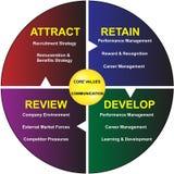 O núcleo avalia o diagrama de uma comunicação empresarial Foto de Stock