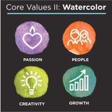 O núcleo da empresa avalia ícones contínuos para Web site ou Infographics Foto de Stock Royalty Free