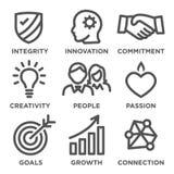 O núcleo da empresa avalia ícones do esboço ilustração stock