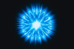 O núcleo de Atom Nuclear explode a luz encarnado do azul da radiação do raio da bomba atômica Fotografia de Stock Royalty Free