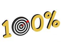 O número 100 por cento com alvo Imagens de Stock Royalty Free