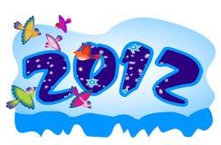 O número 2012 cinzelou no gelo Fotos de Stock