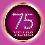 75.o número del diamante de la invitación del oro de la tarjeta del aniversario del feliz cumpleaños de los años Fotos de archivo