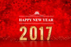 O número do ano novo feliz 2017 no bokeh efervescente vermelho ilumina-se, feriado Imagem de Stock