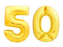 O número dourado 50 cinqüênta fez do balão inflável Foto de Stock Royalty Free