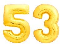 O número dourado 53 cinquenta e três fez do balão inflável Imagens de Stock Royalty Free
