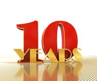 O número dourado dez numera 10 e a palavra Foto de Stock