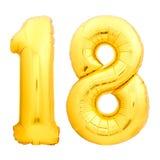 O número dourado 18 dezoito fez do balão inflável Imagem de Stock
