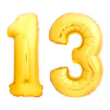 O número dourado 13 fez do balão inflável foto de stock
