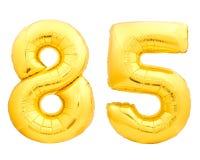 O número dourado 85 oitenta e cinco fez do balão inflável Imagens de Stock