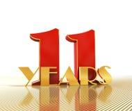 O número dourado onze numera 11 e a palavra Fotografia de Stock Royalty Free