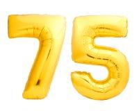O número dourado 75 setenta cinco fez do balão inflável Imagens de Stock Royalty Free
