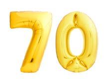 O número dourado 70 setenta fez do balão inflável Fotos de Stock