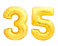 O número dourado 35 trinta e cinco fez do balão inflável Fotografia de Stock