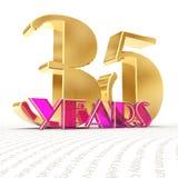 O número dourado trinta e cinco numera 35 e a palavra Fotografia de Stock Royalty Free