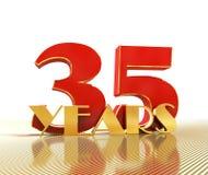 O número dourado trinta e cinco numera 35 e a palavra Imagem de Stock Royalty Free